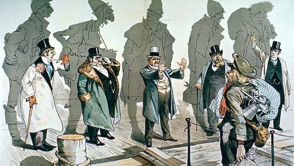 A cartoon of businessmen who are denying entry to a new immigrant, who is exiting a ship